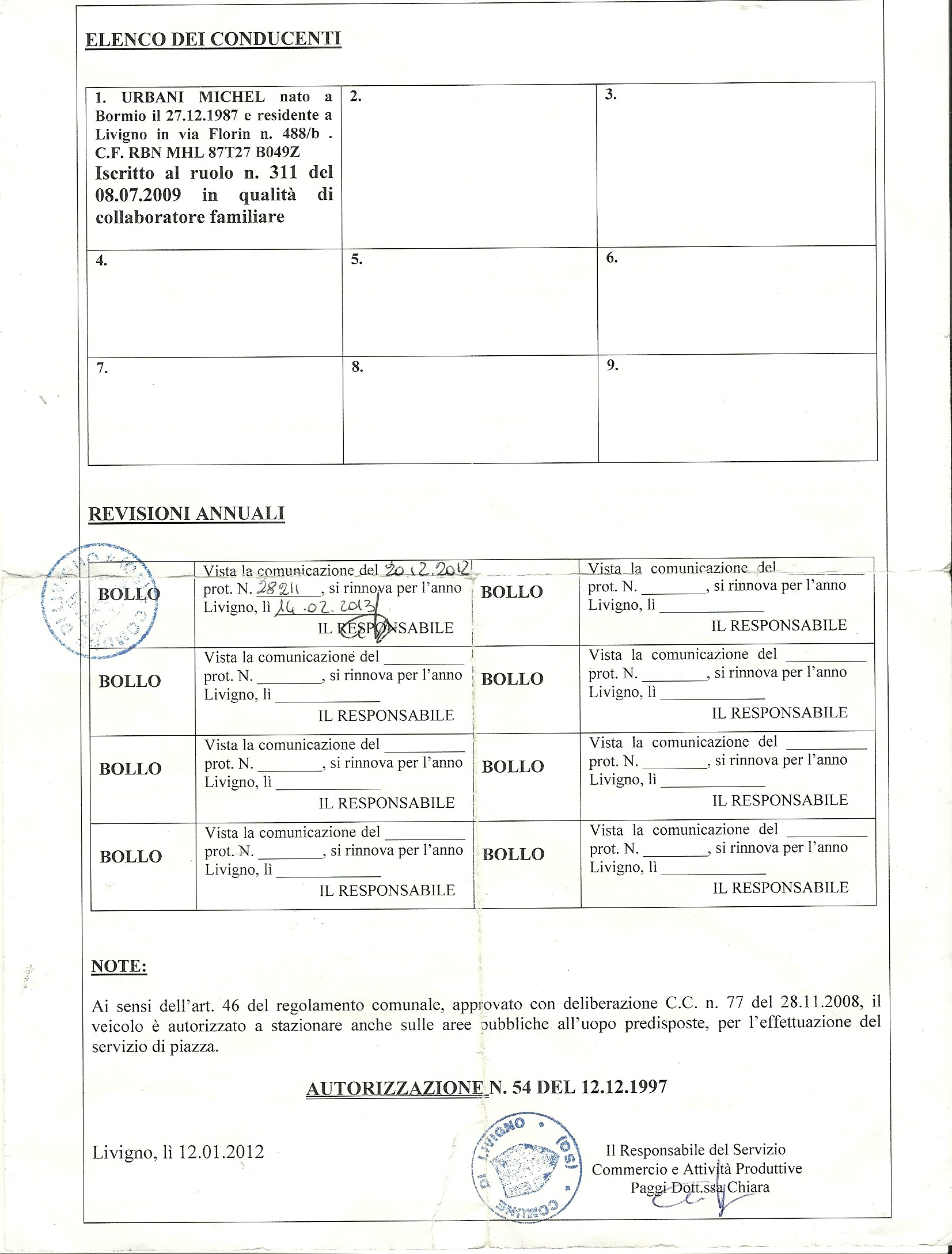 Livigno and St Moritz taxi transport licence