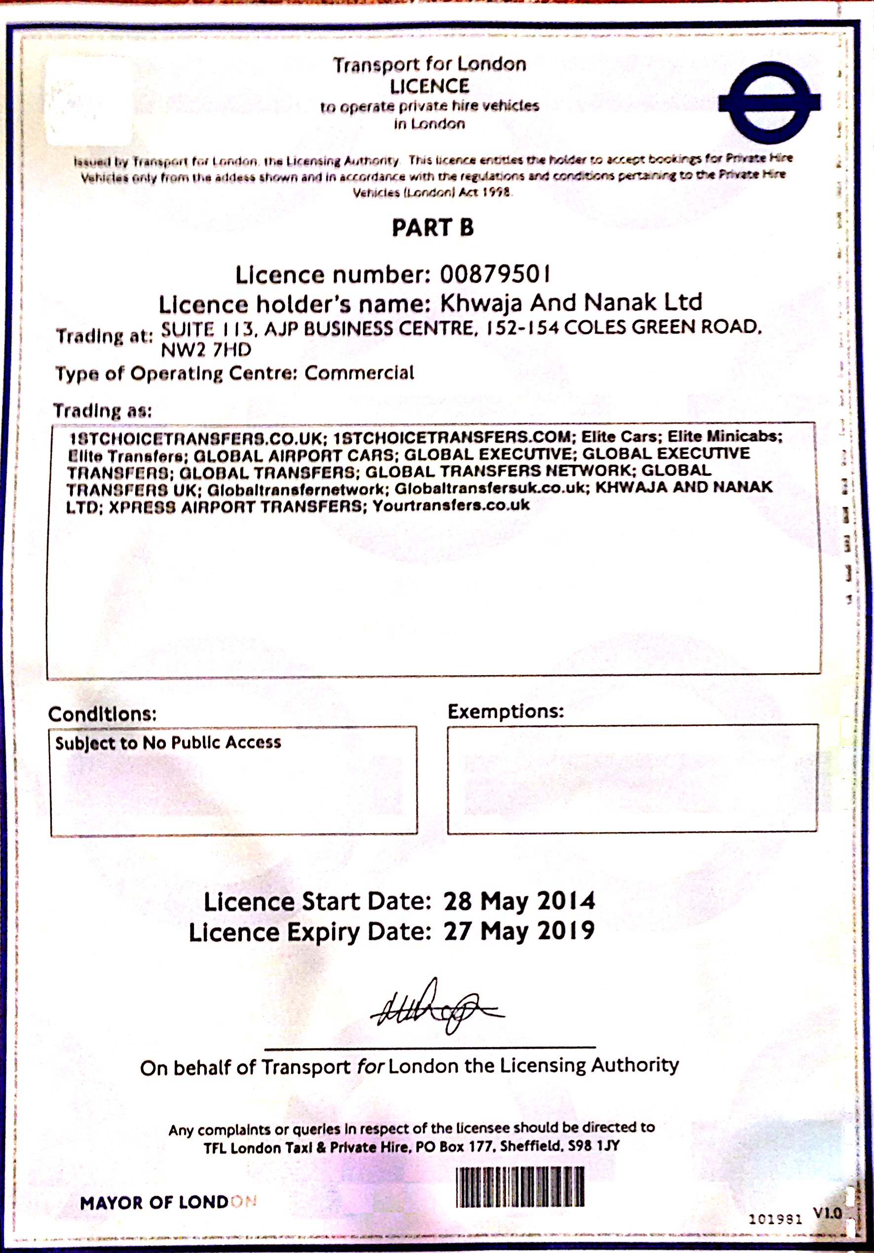 Global Transfers UK transport licence