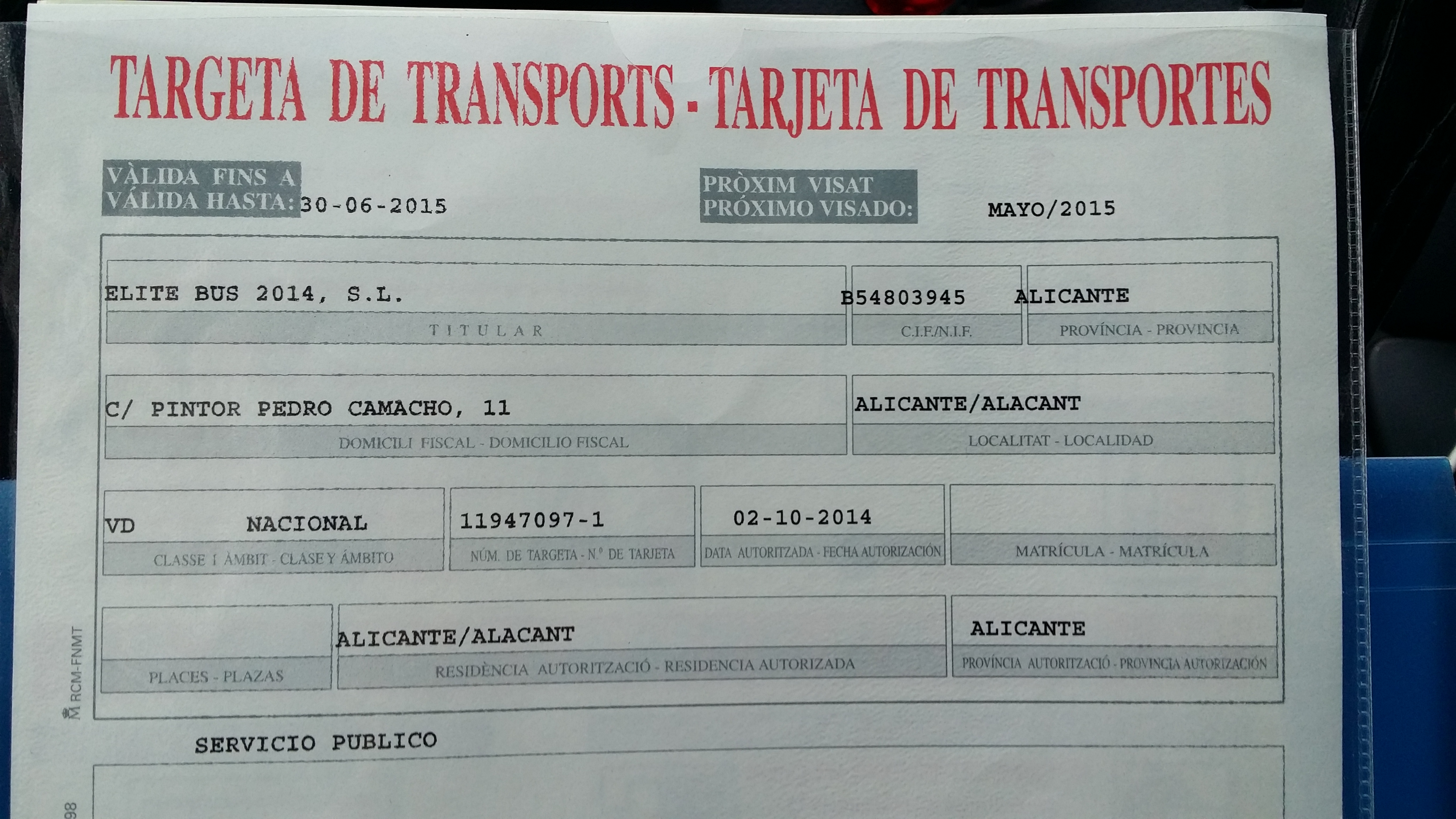 Taxi service Alicante transport licence