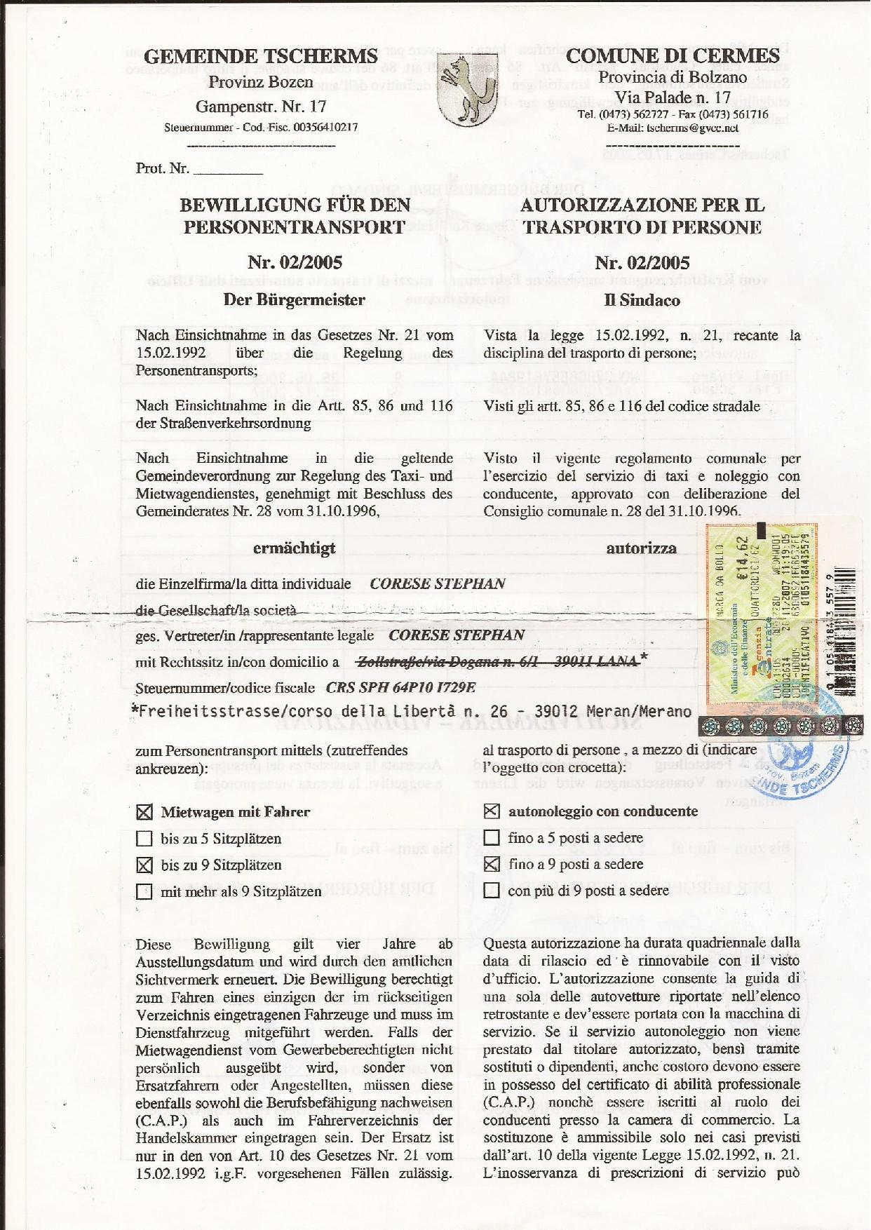 Taxistephan transport licence