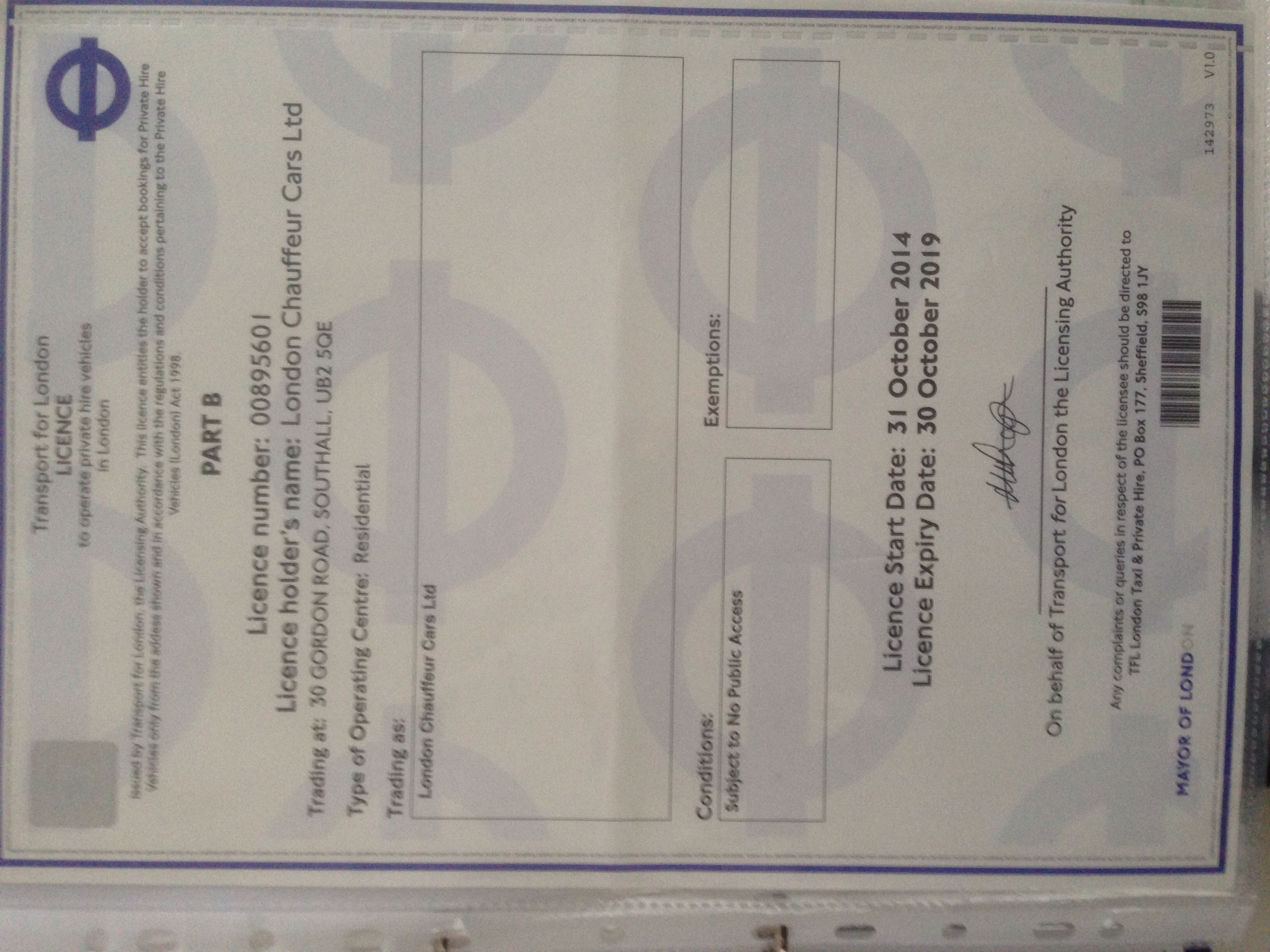 London Chauffeur Cars Ltd transport licence