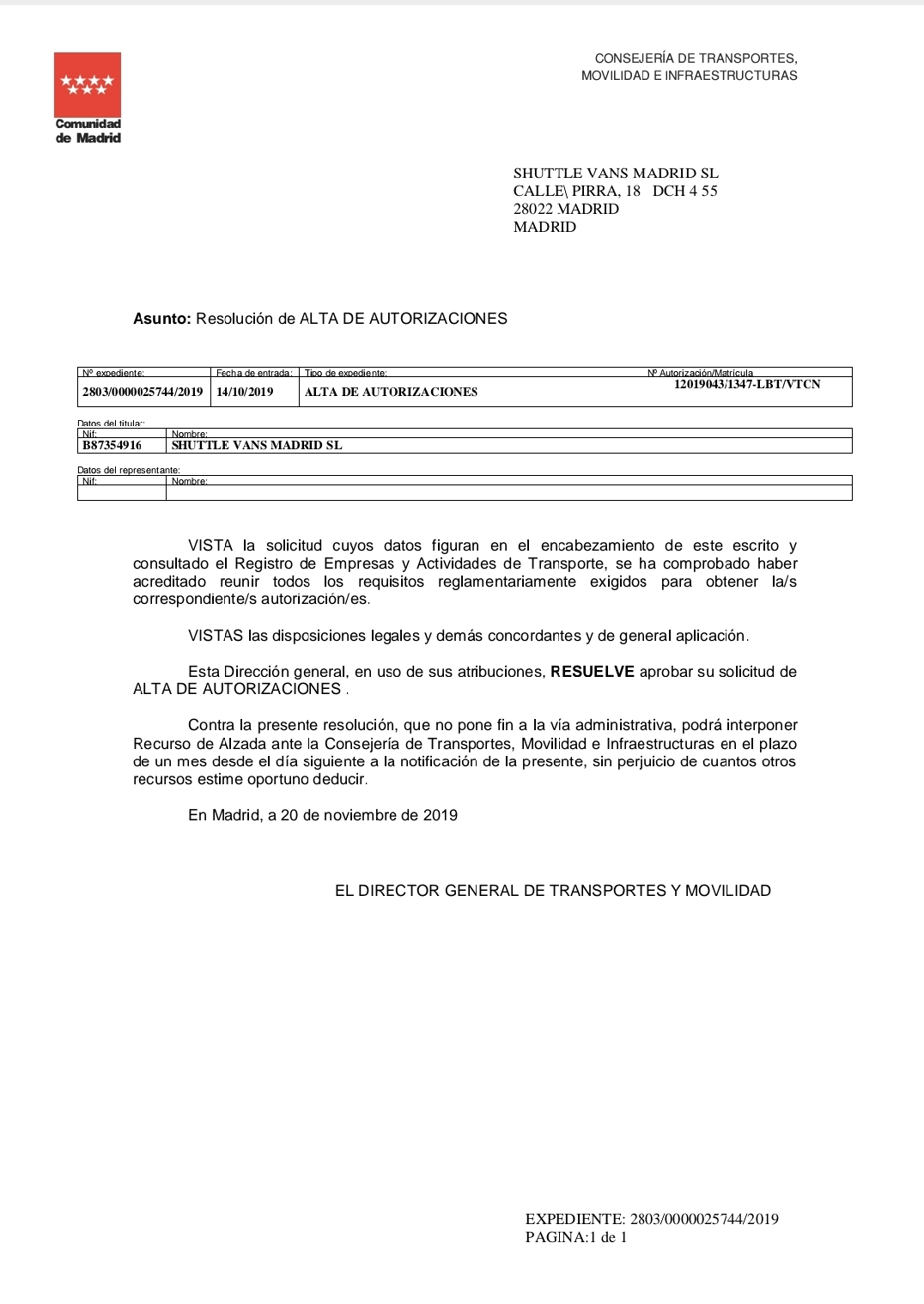 ComforTransfer transport licence