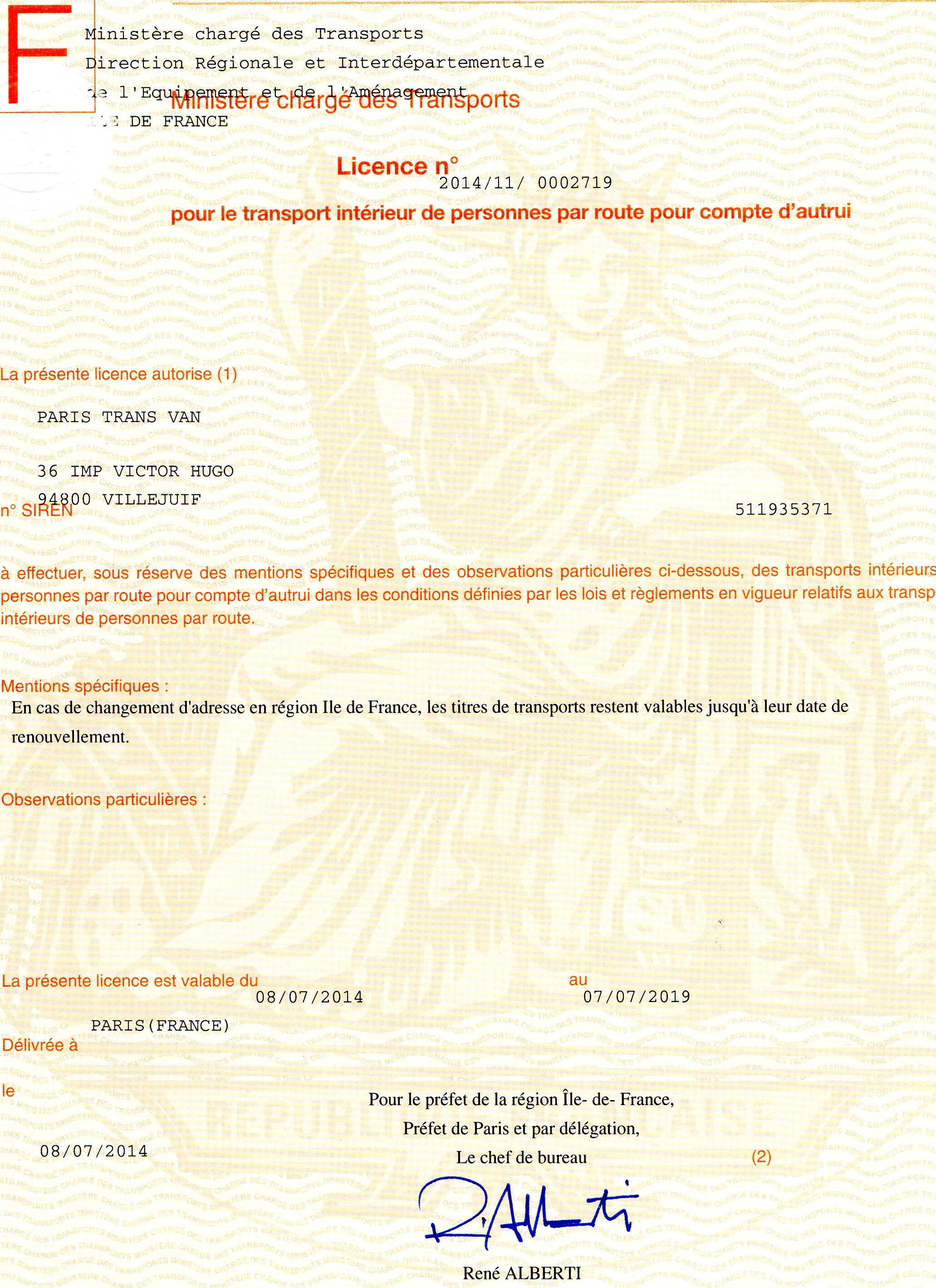 PARIS TRANS VAN transport licence