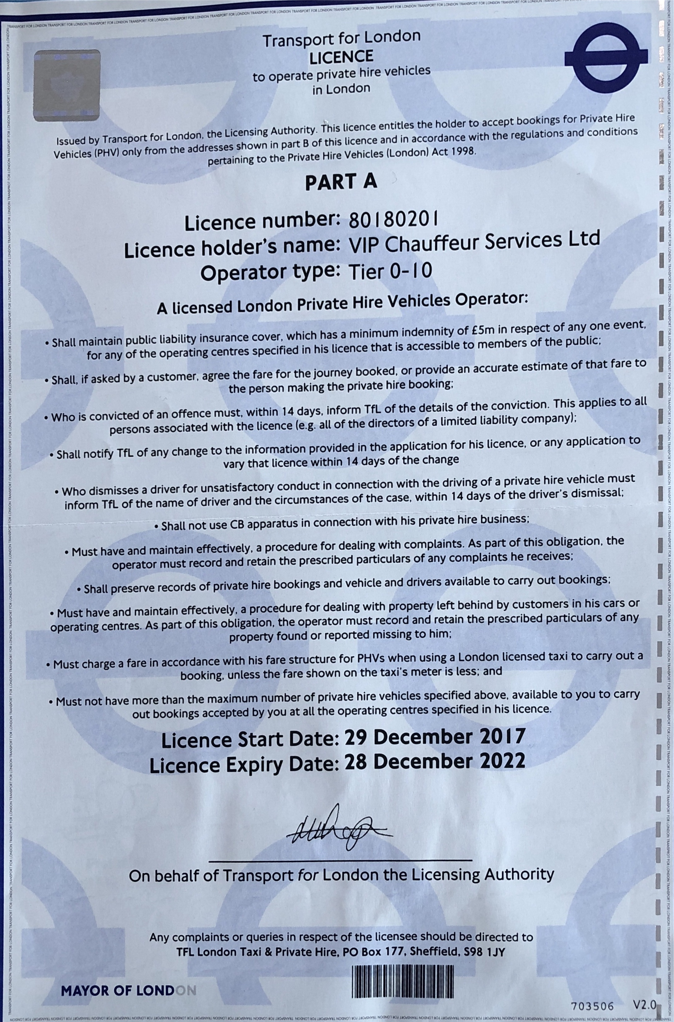 VIP CHAUFFEUR SERVICES LTD transport licence
