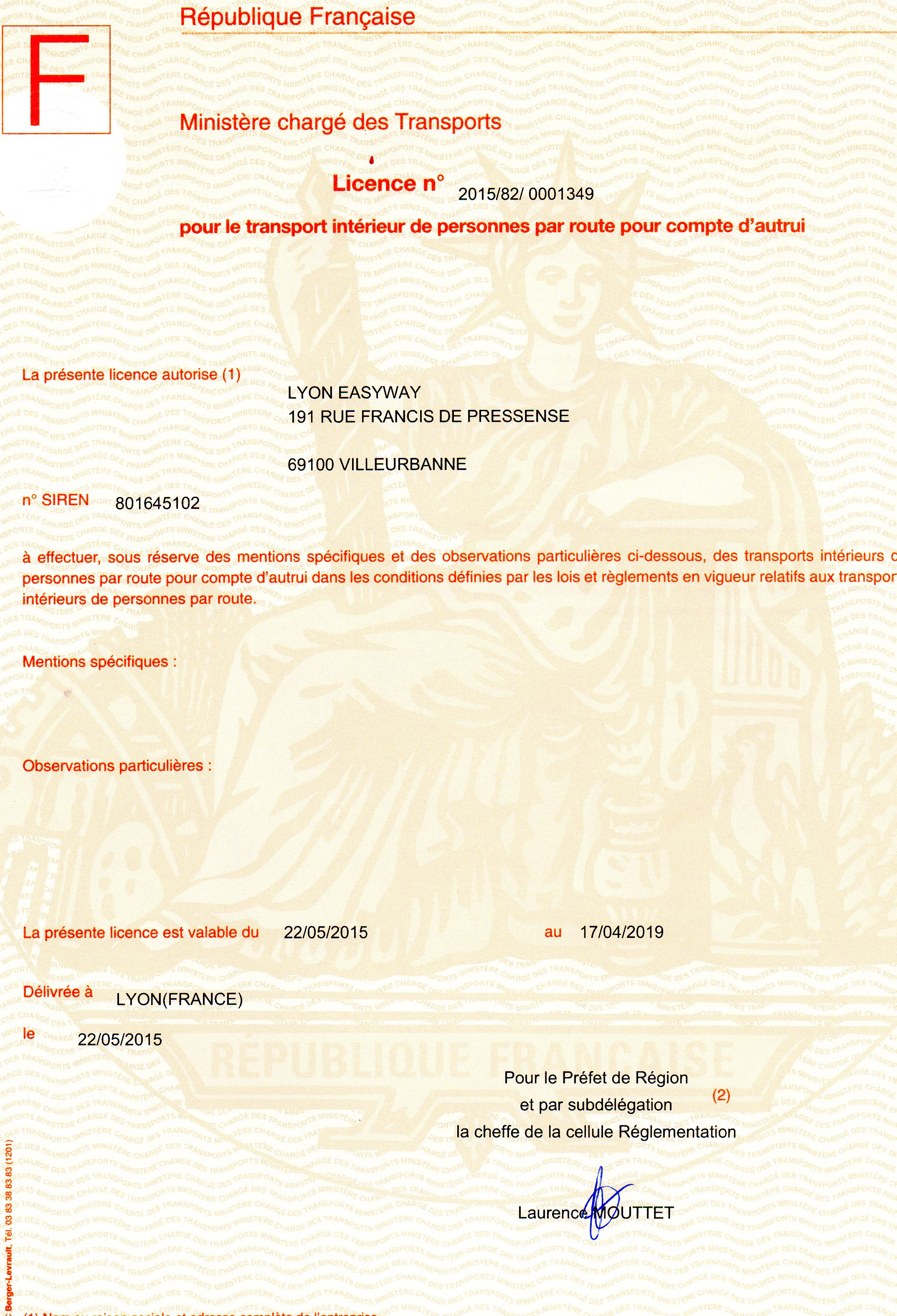 LyonCab transport licence