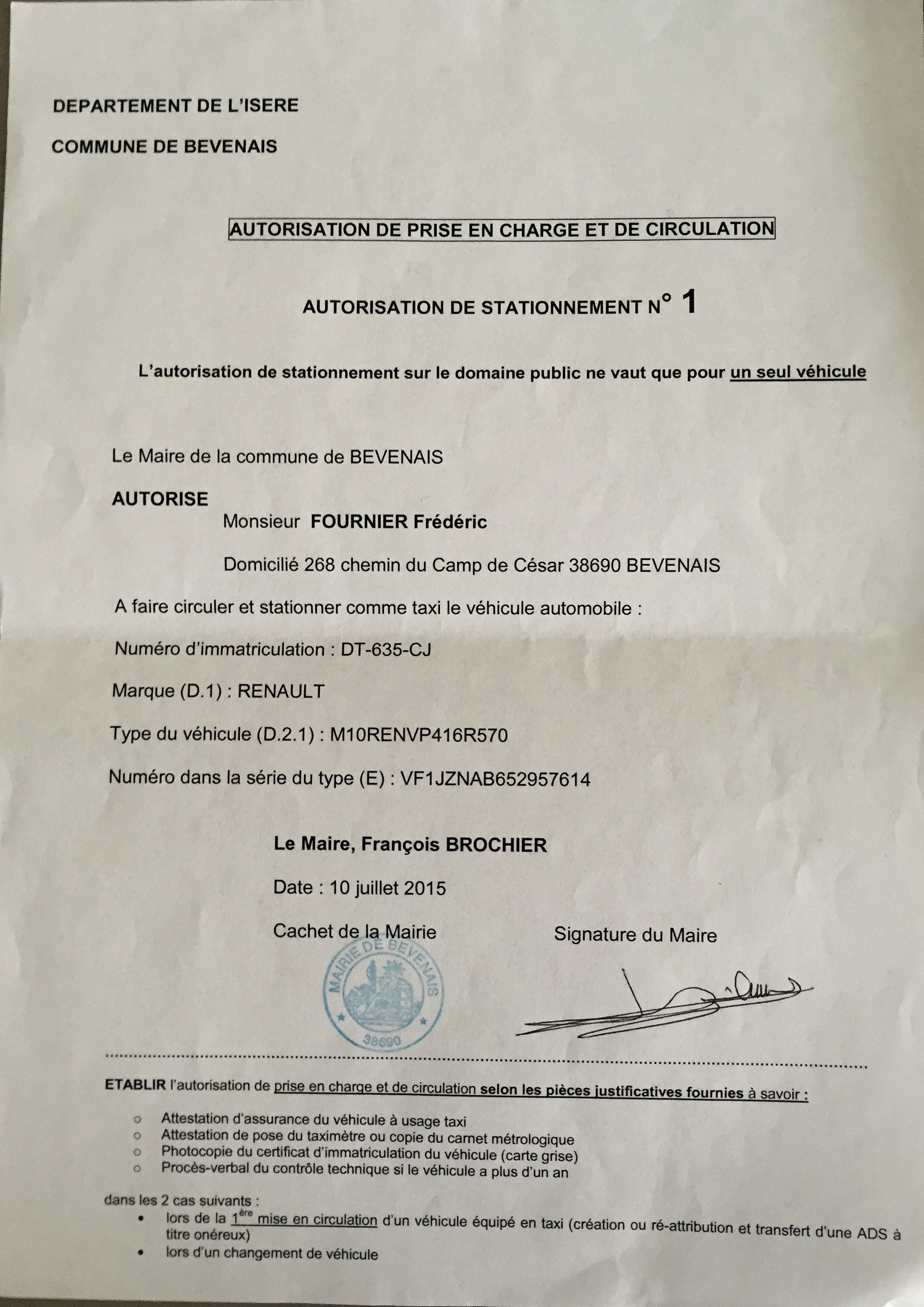 Fournier taxi transport licence