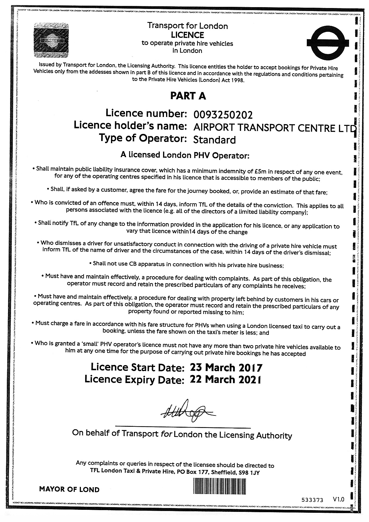 Airport Transport Centre Ltd transport licence