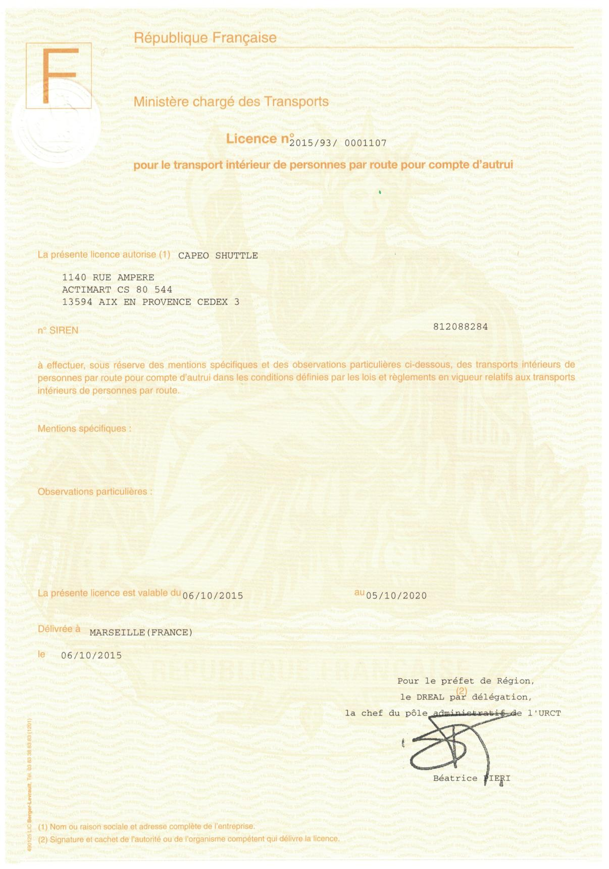 Capeo Shuttle transport licence