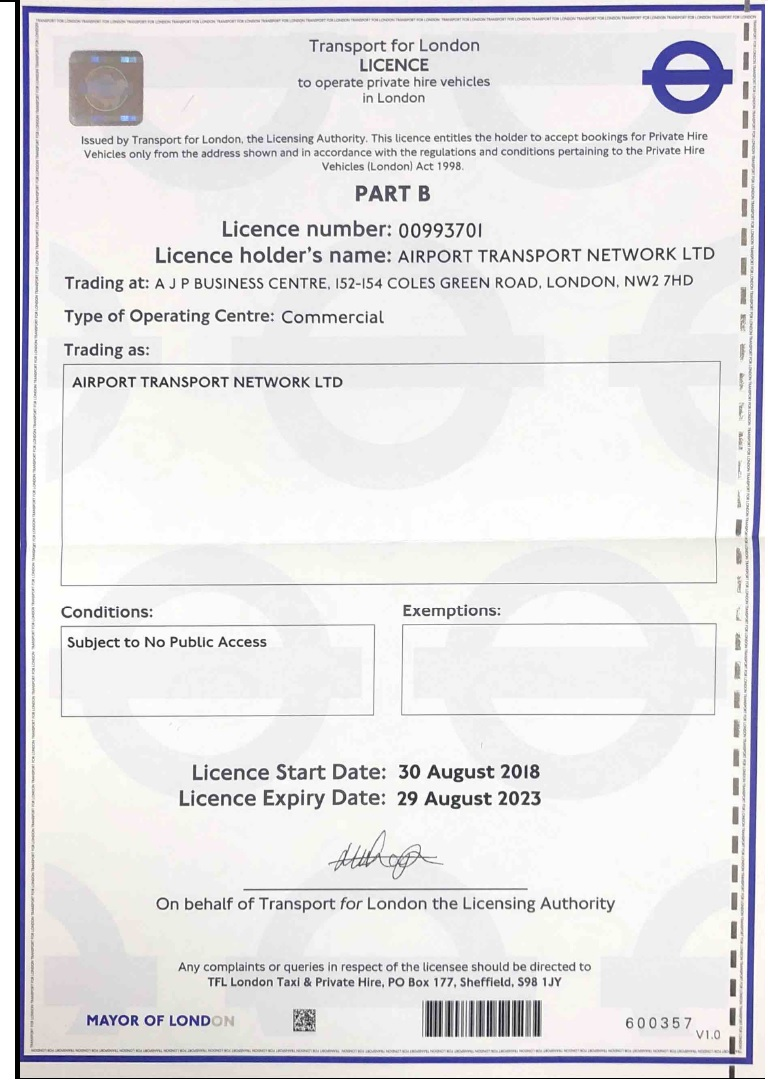 Airport Transfer Network transport licence