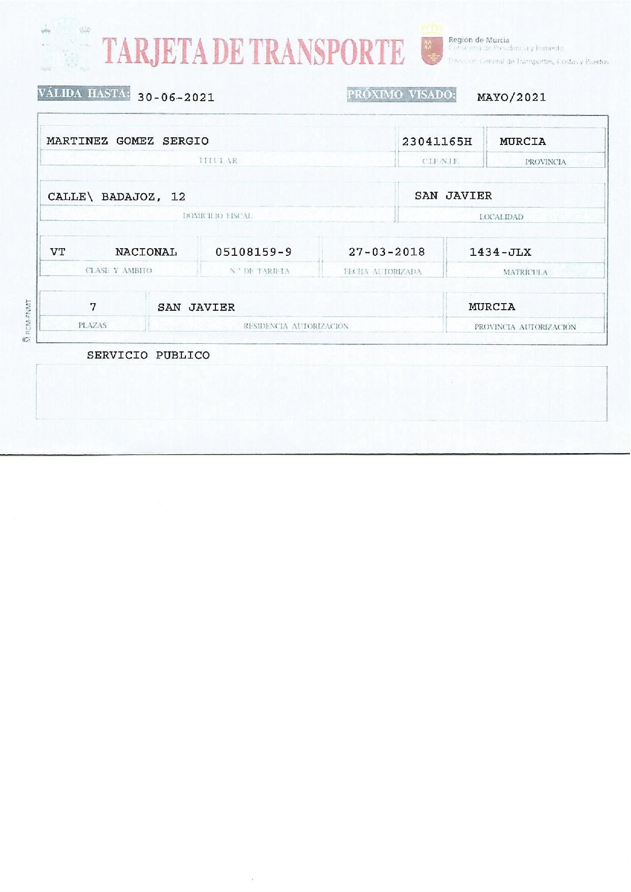 Murcia-San Javier Taxi transport licence