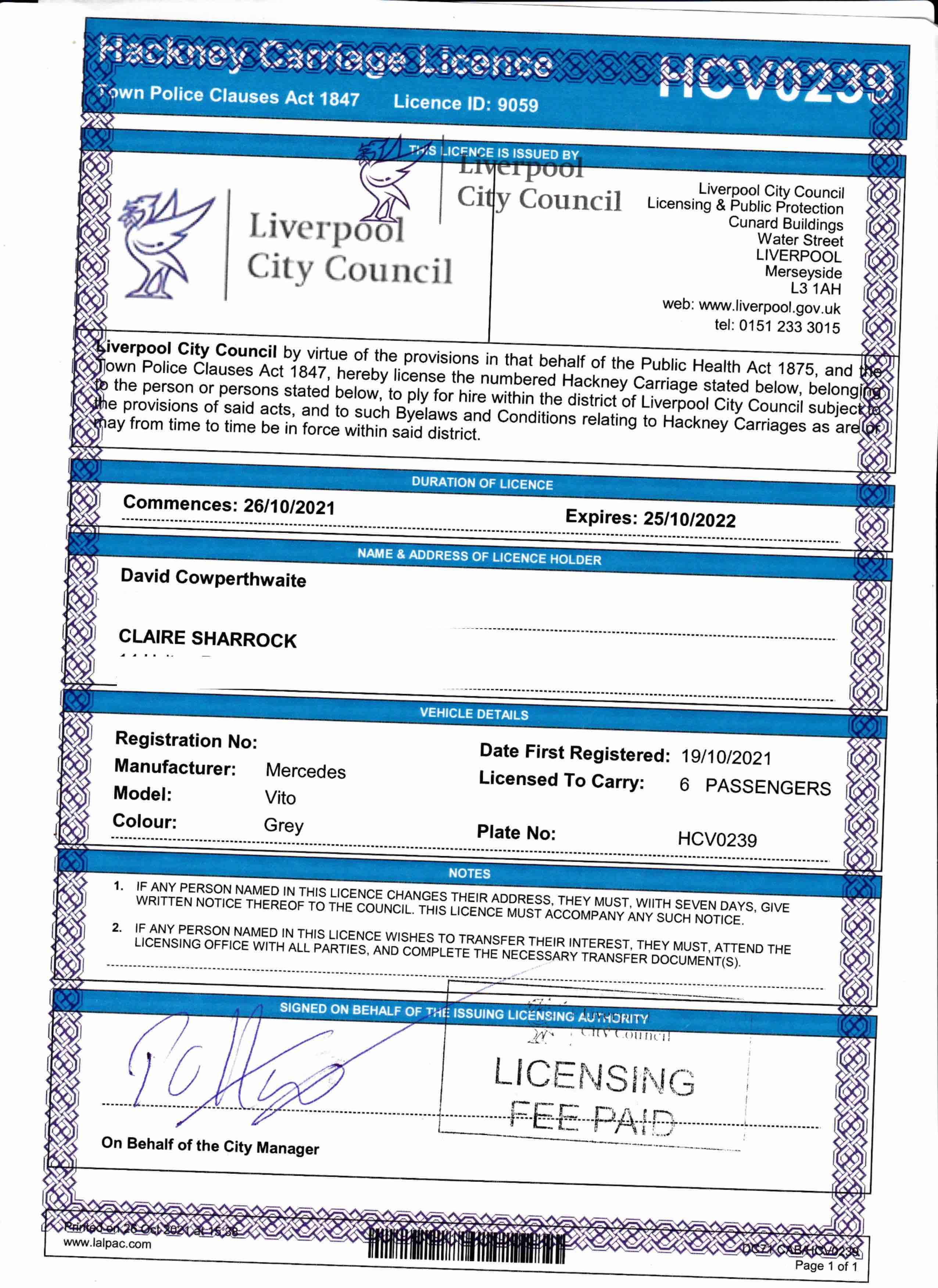 Liverpool Taxi Transfers transport licence