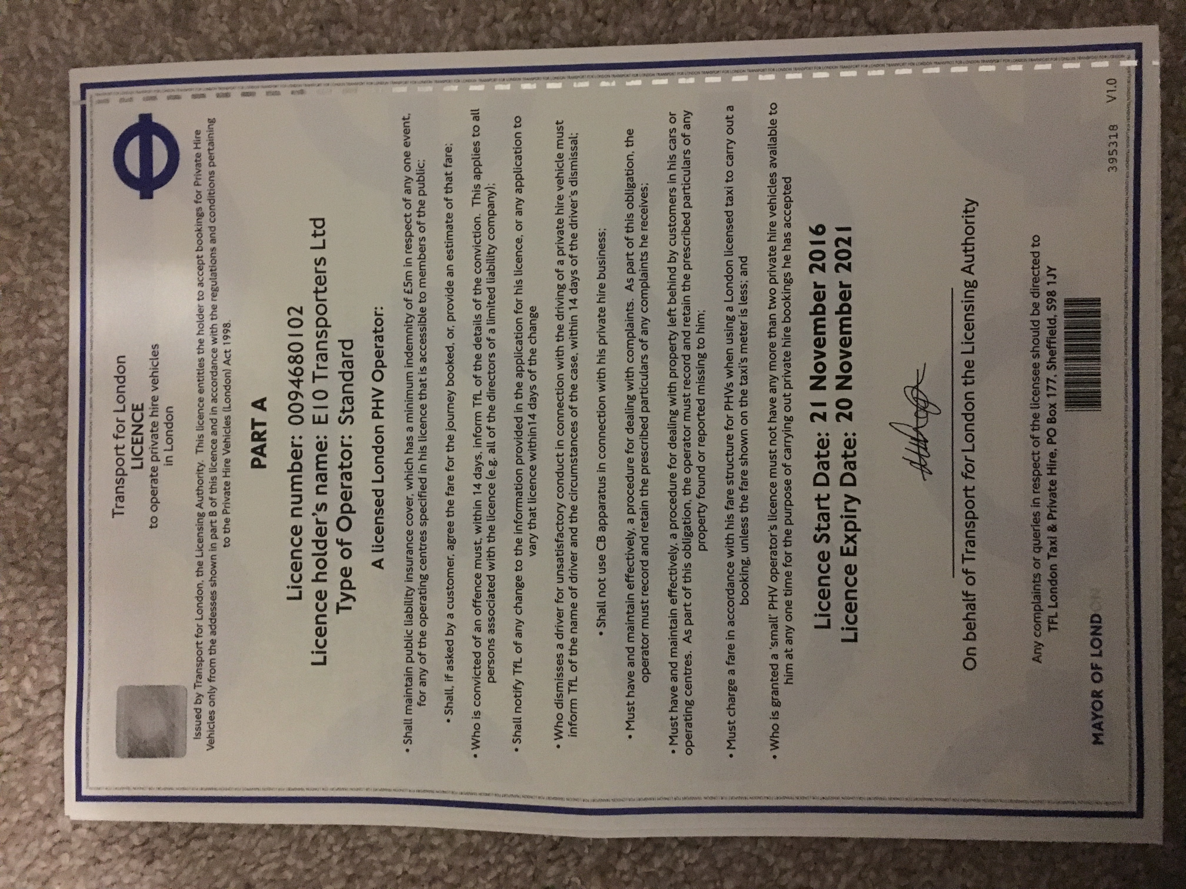 E10 TRANSPORTERS LTD transport licence