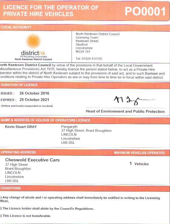 Cheswold Executive Cars transport licence
