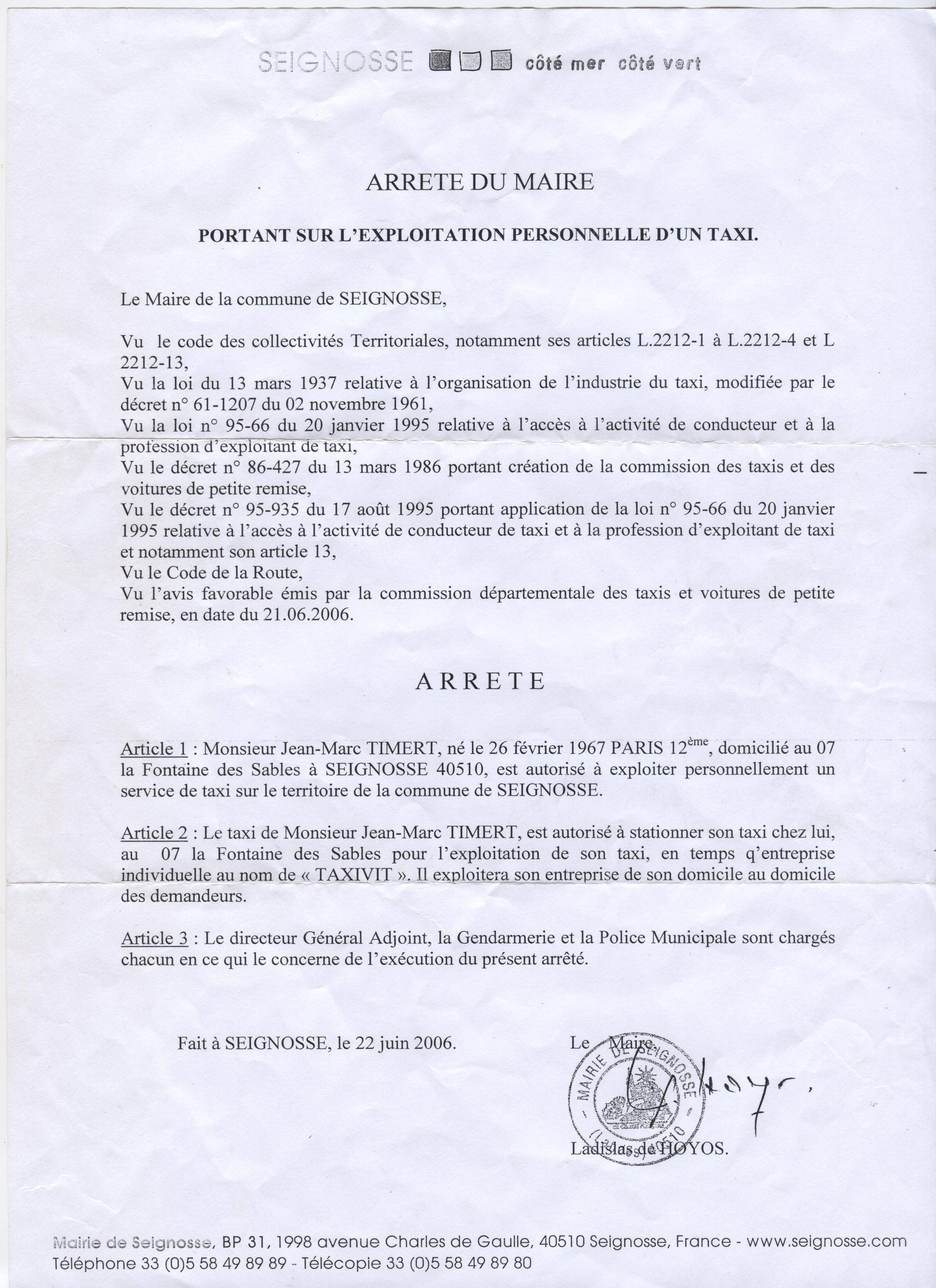 TAXIVIT transport licence