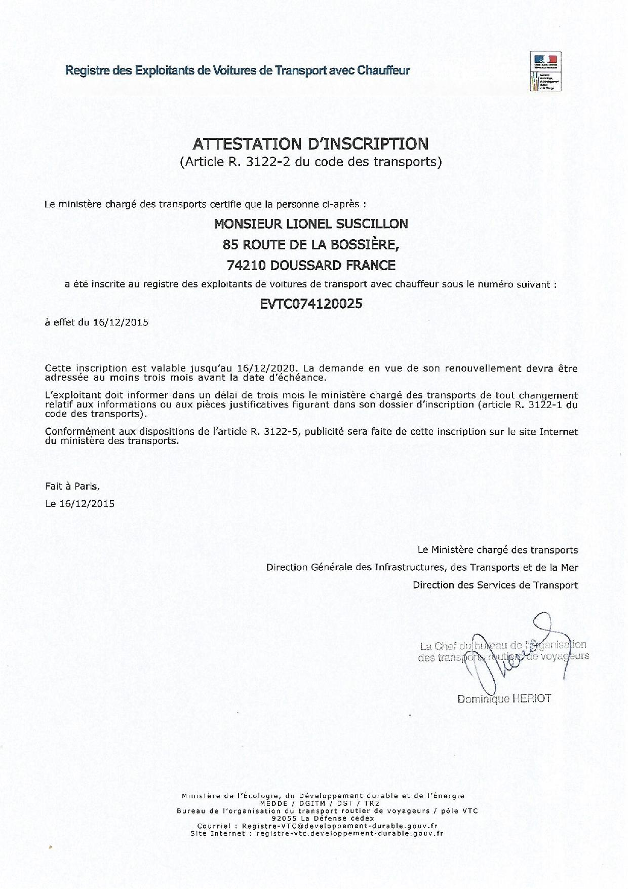 VTC ALPES CHAUFFEUR transport licence