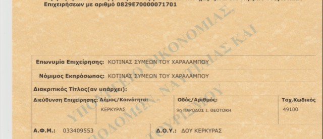 Kotinas travel transport licence