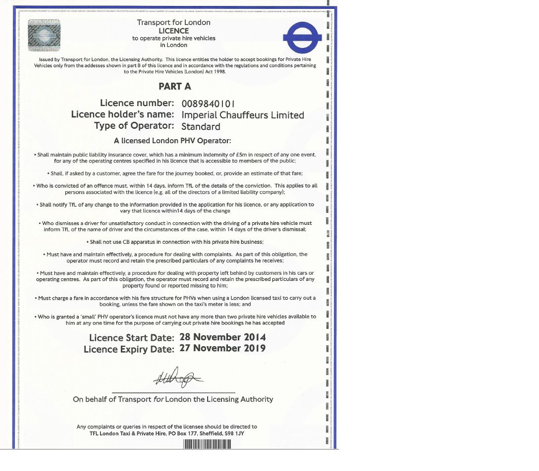 Imperial ride transport licence