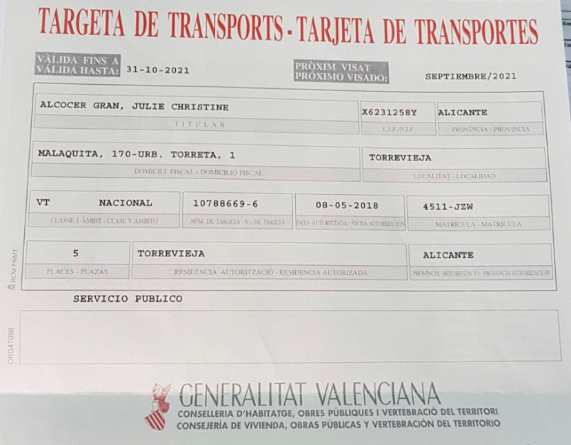 Taxiservicecostablanca transport licence