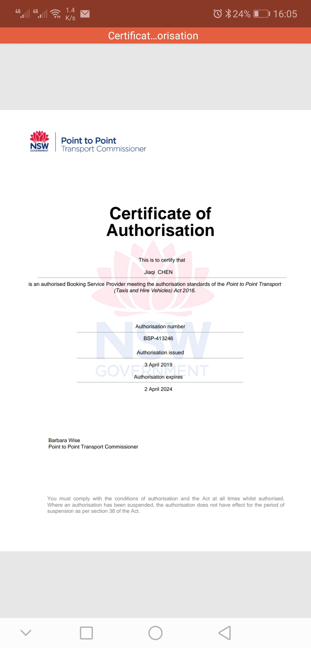 Colin Chen transport licence