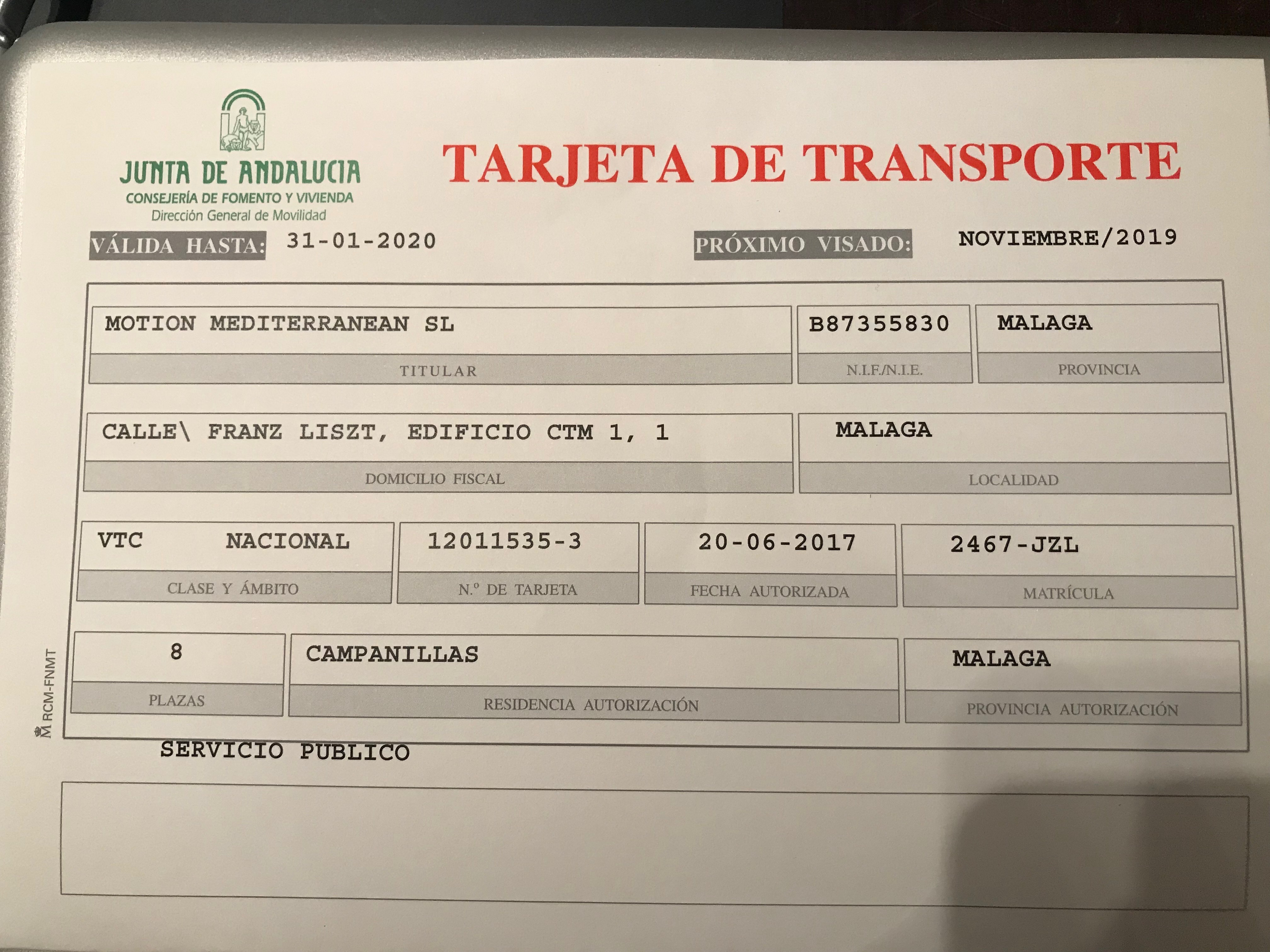 In Motion transport licence