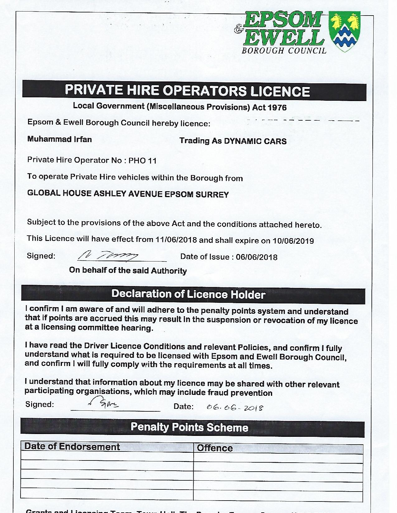 Dynamic Cars transport licence