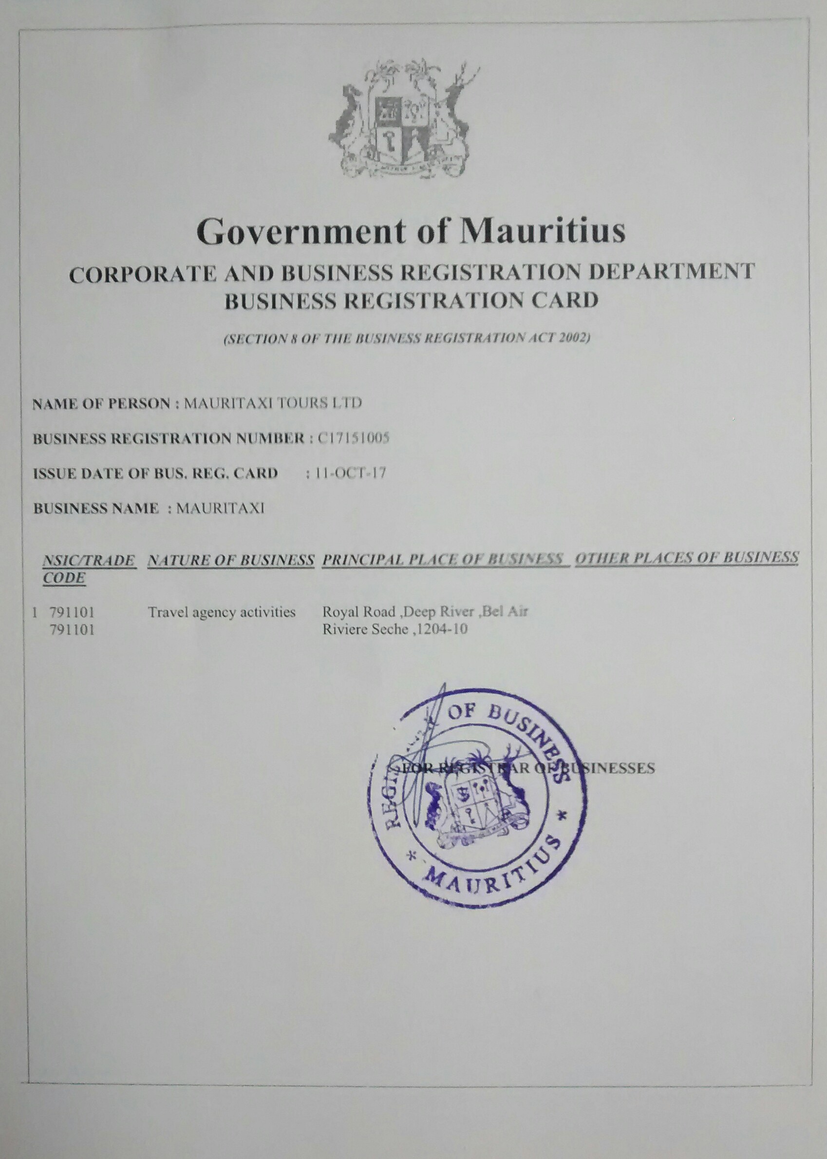 Mauritius Taxi Tours transport licence