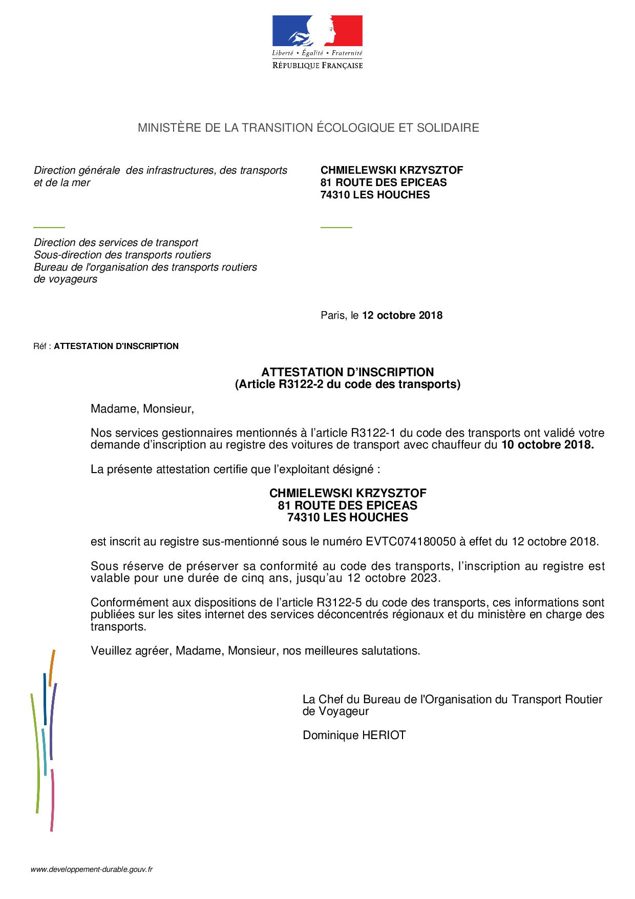Mont Blanc Tranfers transport licence