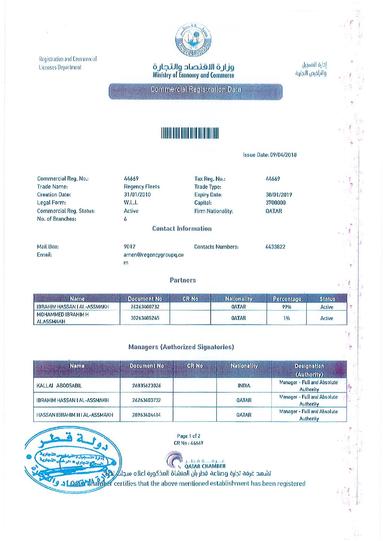 Regency Fleets Qatar transport licence