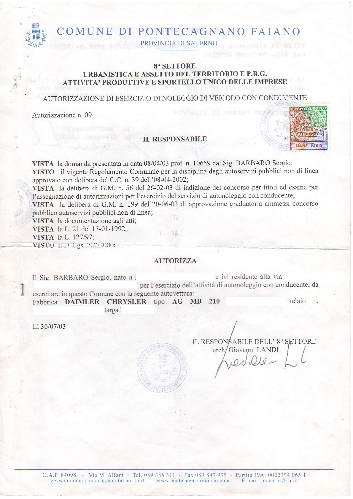 Barbaro Car Service transport licence