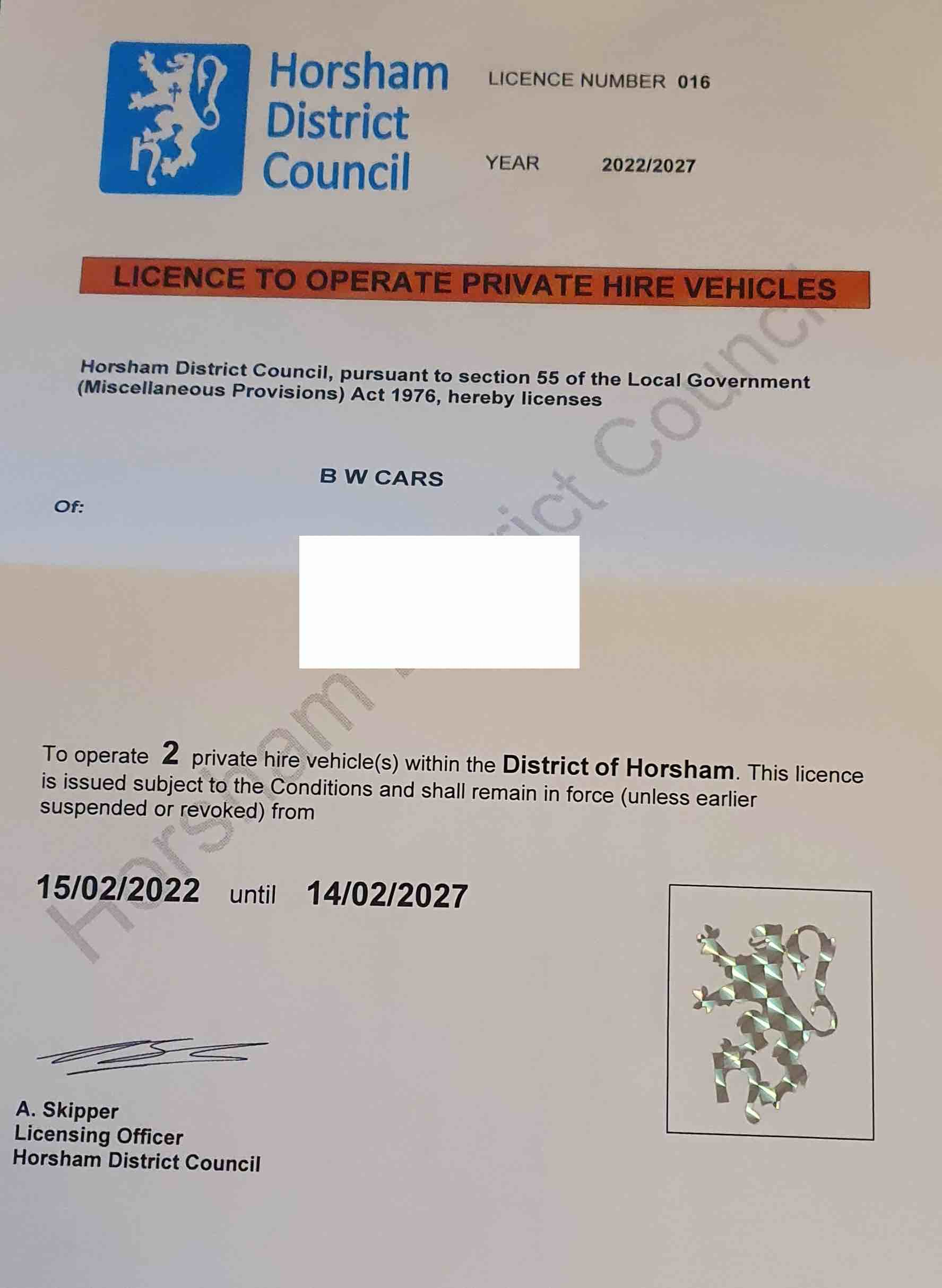 BW Cars transport licence