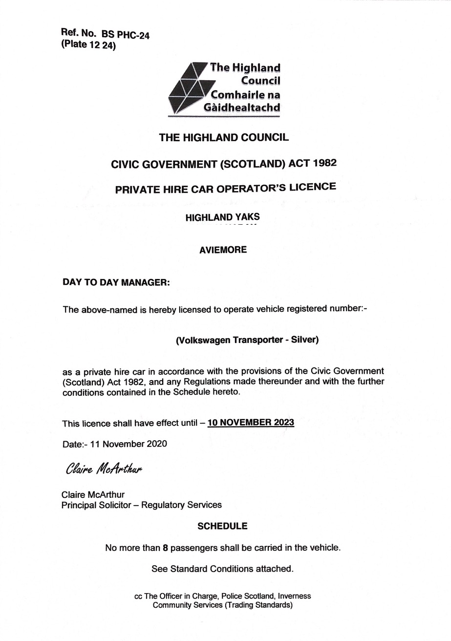 Highland Yaks transport licence