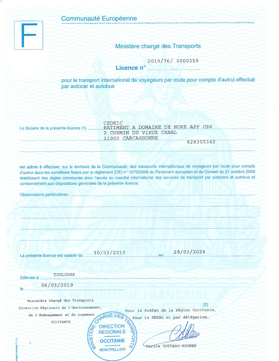 Occitanie Voyages transport licence
