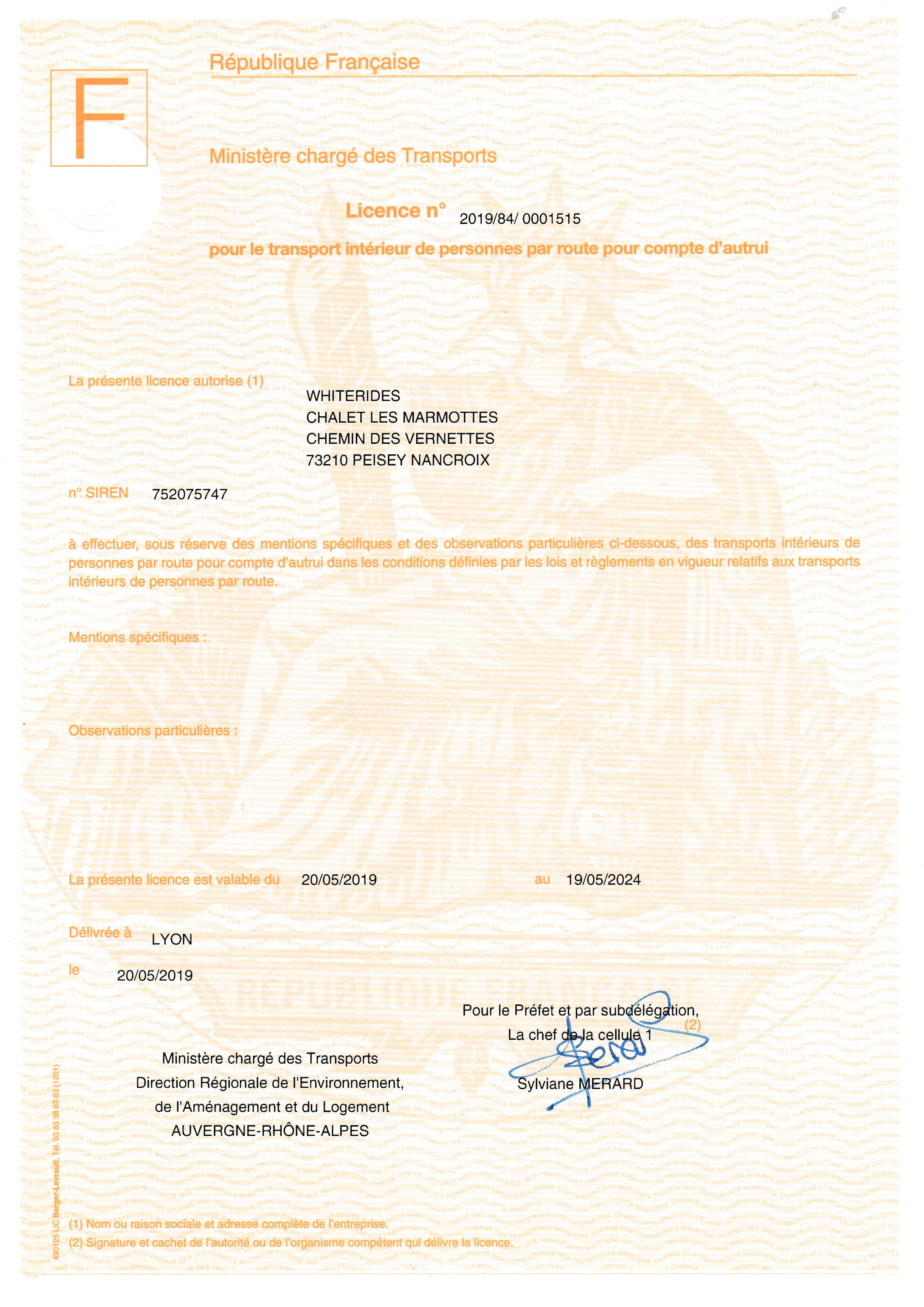 WHITERIDES transport licence