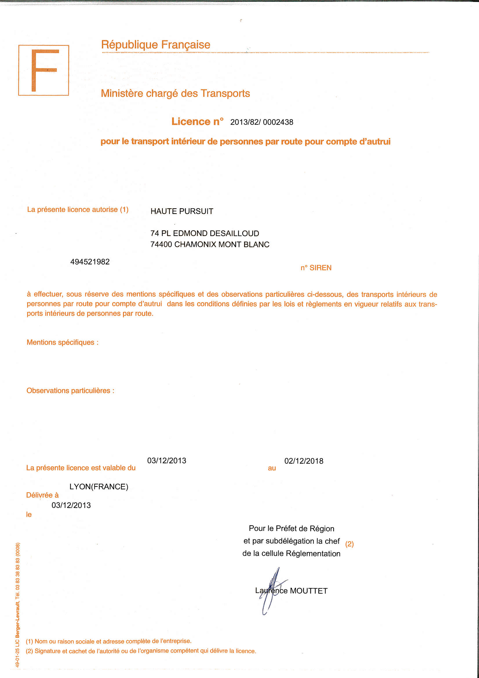 Haute Transfer transport licence