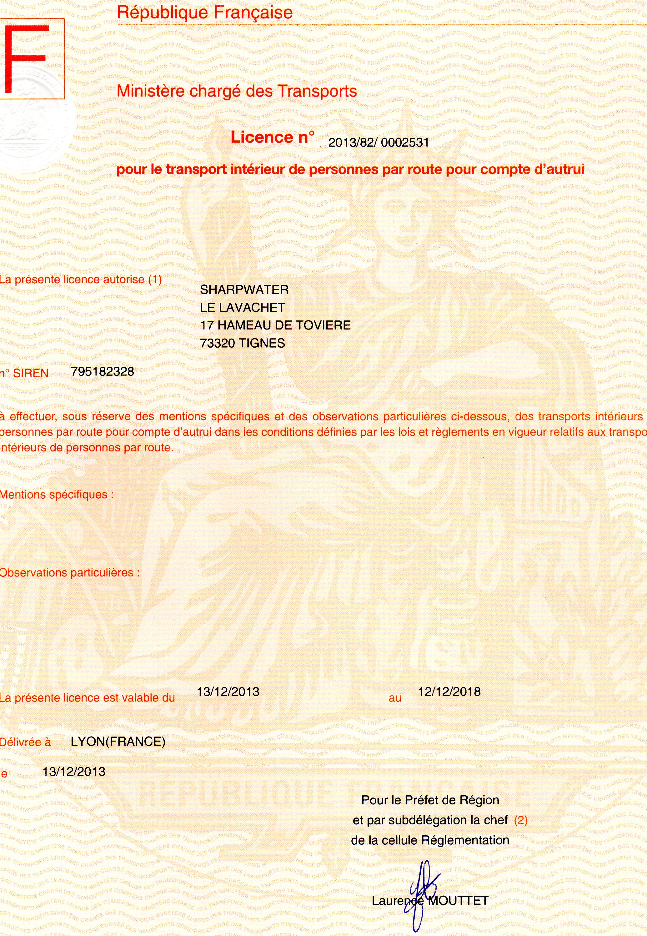 Mountainrides transport licence